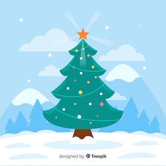 Christmas tree in flat design