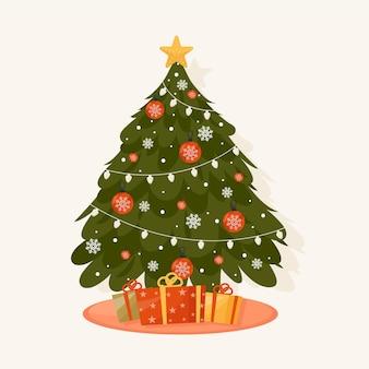 Christmas tree in flat design