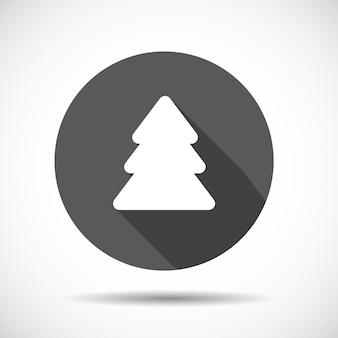 Рождественская елка плоский значок с длинной тенью. векторные иллюстрации. eps10