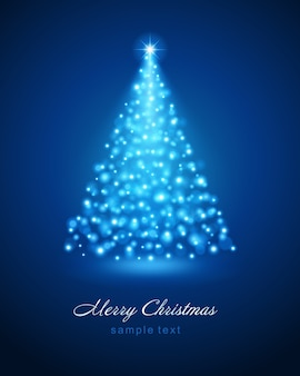 Christmas tree from blue glitter lights of bright glow magic bokeh  and   illustration