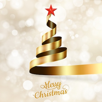 골드 리본 및 스타에서 크리스마스 트리입니다.