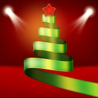 녹색 리본 및 스타에서 크리스마스 트리입니다.