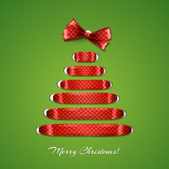 Christmas tree from red ribbon  background.