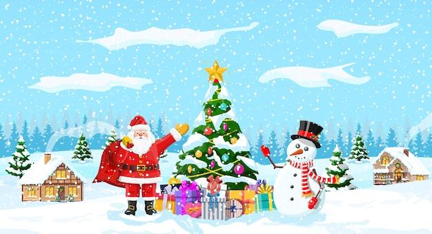 Елочные гирлянды, шары, подарочные коробки, дед мороз и снеговик. зимний пейзаж еловый лес идет снег.