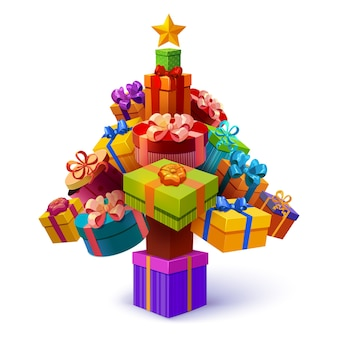 Christmas tree of gift boxes composition with yellow star and decorative packages of different shape