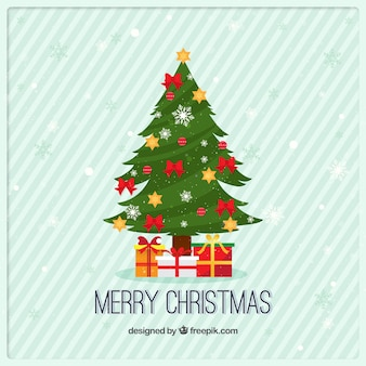 Christmas tree and gifts greeting card