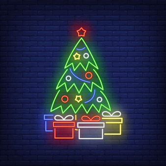 Christmas tree and gifts in neon style