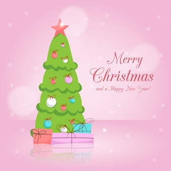 Christmas tree and gifts on pink background