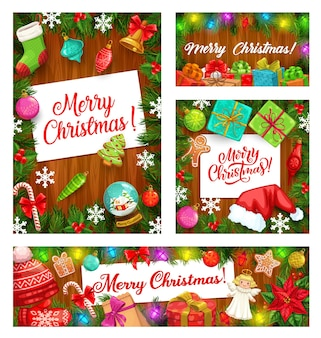 Christmas tree and gifts, winter holiday frames Premium Vector