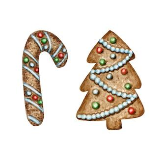 クリスマスツリージンジャーブレッドクッキーセット、冬休みの甘い食べ物。水彩イラスト。クリスマスプレゼントや木の飾り。