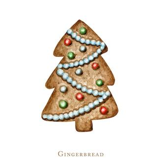 クリスマスツリーのジンジャーブレッドクッキー、冬の休日の甘い食べ物。白い背景に分離された水彩イラスト。クリスマスギフトとツリーの装飾。