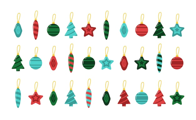 Christmas tree glass toys collection 30 vector flat elements for winter holiday decoration