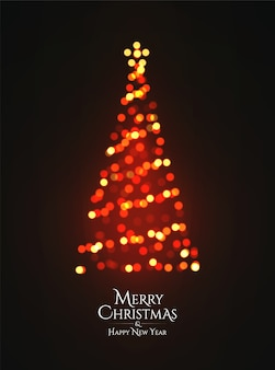 Christmas tree glowing garland bokeh silhouette on dark background.