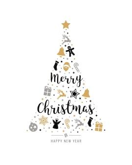 Christmas tree gold black icon