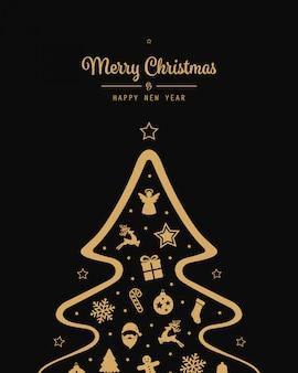Christmas tree gold elements black background