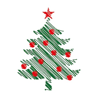 Christmas tree graphic art design. new year fir tree.