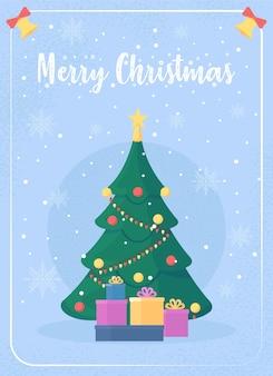 クリスマスツリーグリーティングカードフラットテンプレート。幸せな冬の休日。ホリデーシーズンの装飾。パンフレット、小冊子1ページのコンセプトデザインと漫画のキャラクター。メリークリスマスチラシ、リーフレット