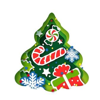 Рождественская елка поздравительная открытка. с новым годом и рождеством. зимние каникулы в стиле бумажного ремесла. рамка из зеленого дерева - сладкий леденец и подарок. снежинки и падуб. вектор.