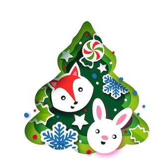 Рождественская елка поздравительная открытка. с новым годом и рождеством. зимние каникулы в стиле бумажного ремесла. зеленая рамка дерева с животными - лиса, кролик. снежинки и падуб. вектор.