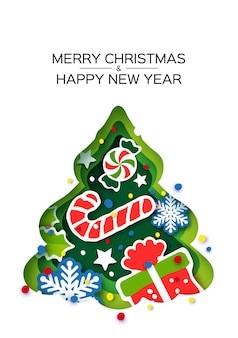 Christmas tree greeting card. happy new year and merry christmas. winter holidays paper craft style. green tree frame - sweet lollipop and gift. snowflakes and holly. vector.