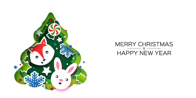 Christmas tree greeting card. happy new year and merry christmas. winter holidays paper craft style. green tree frame with animals - fox, rabbit. snowflakes and holly. vector.