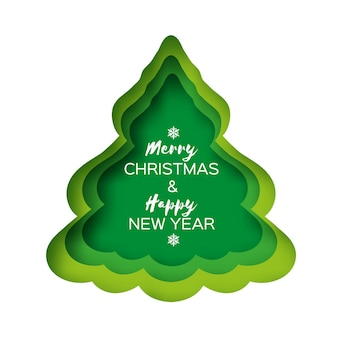 Christmas tree greeting card. happy new year and merry christmas. winter holidays paper craft style. green. vector.