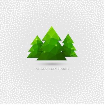Рождественская елка поздравительная открытка. полигональный дизайн