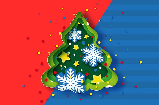 Christmas tree greeting card with stars and snowflakes. happy new year and merry christmas. winter holidays paper craft style. vector.