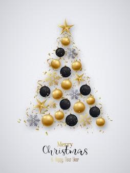 Christmas tree. greeting card.