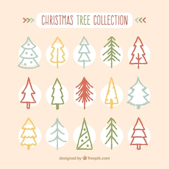 Christmas tree hand drawn collection on simple design
