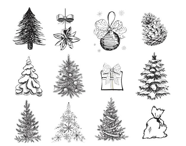 Рождественская елка рисованной иллюстрации