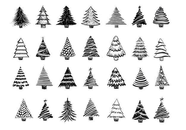 クリスマスツリー手描きイラスト