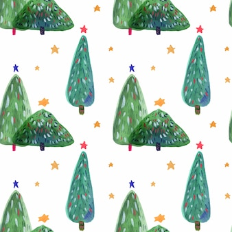 Christmas tree hand drawn watercolor seamless pattern