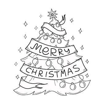 Рождественская елка праздник иллюстрации наброски книжка-раскраска