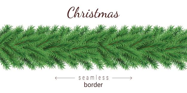 Christmas tree horizontal seamless pattern