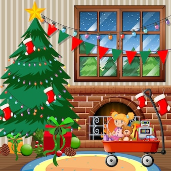 Christmas tree in the house merry christmas scene