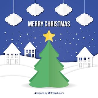クリスマスツリー、家と雲、紙のスタイル