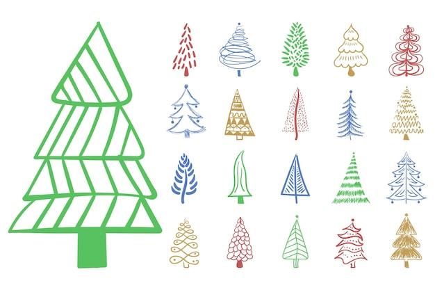 크리스마스 트리 아이콘 브러시 손으로 그린 획 잉크 디자인 새 해 축제 장식 낙서 잉크