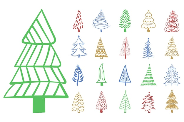 Christmas tree icon brush hand drawn stroke ink design doodle ink for new year festive decoration