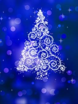 Christmas tree illustration on golden.