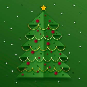 紙のスタイルでクリスマスツリーのイラスト