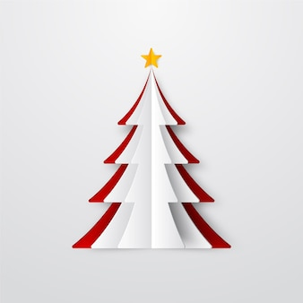 Christmas tree illustration in paper style