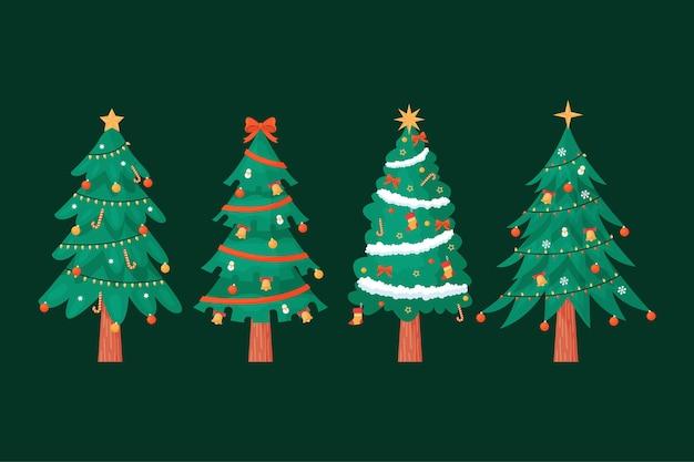 평면 디자인에 크리스마스 트리