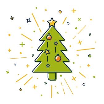 線のスタイルのクリスマスツリー