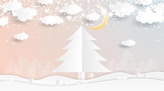 종이 컷 스타일의 크리스마스 트리. 달과 구름이 있는 겨울 숲. 벡터 일러스트 레이 션. 즐거운 성탄절 보내시고 새해 복 많이 받으세요.