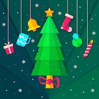 Елка в бумажном стиле с подвесными рождественскими аксессуарами