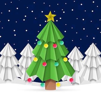 Новогодняя елка в бумажном стиле