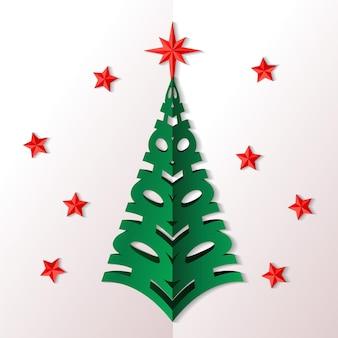 종이 스타일의 크리스마스 트리