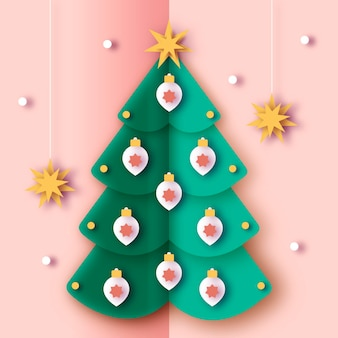 紙のスタイルのクリスマスツリー