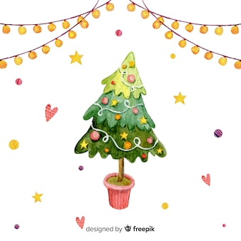 Christmas tree in watercolor style